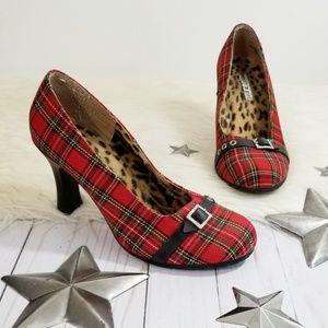 Tommy Girl red plaid heels vintage 90s tartan 8